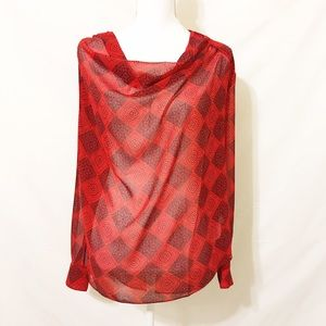 Cabi Red & Black Draped Long Sleeve Floral Blouse