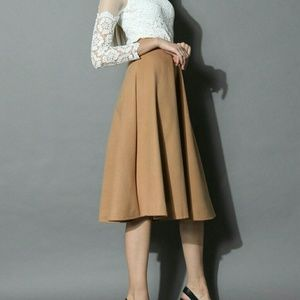 NWT wool tan midi skirt