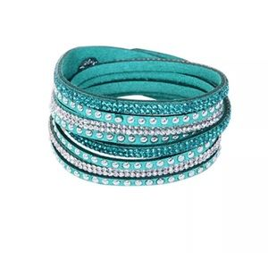 Jewelry - Turquoise Suede Studded Rhinestone Bracelet Choker