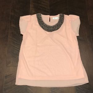Tops - Peach Chiffon Top with Bead Detail.