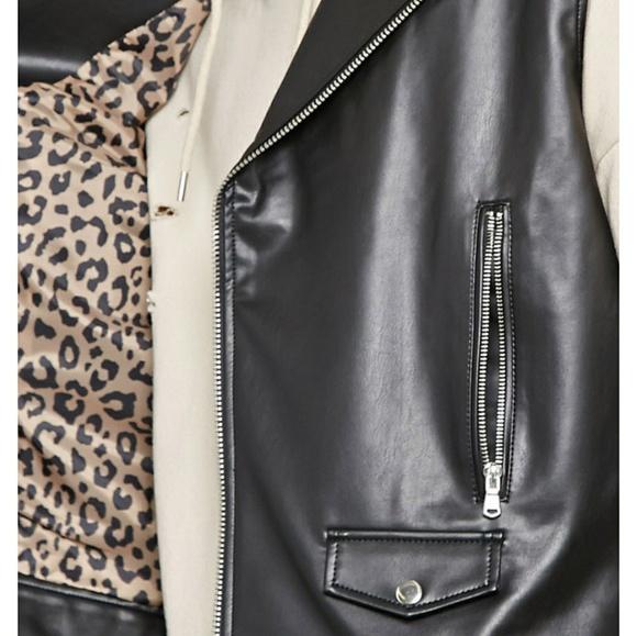 Forever 21 Jackets & Coats - F21 Men Faux Leather Moto Vest Black Punk Cheetah