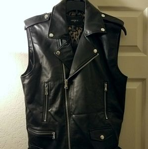 Forever 21 Jackets & Coats - F21 Men Faux Leather Moto Vest Black Punk Cheetah