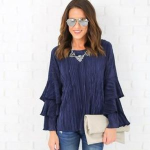 Vici Collection  Tops - NWOT Blue Long Sleeve Blouse