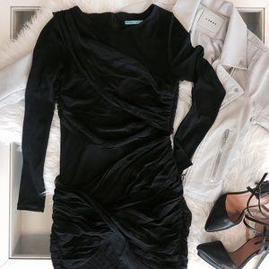 Alice + Olivia Long Sleeve Goddess Dress in Black