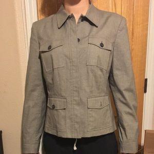 Calvin Klein grey jacket, w/ hidden buttons EUC