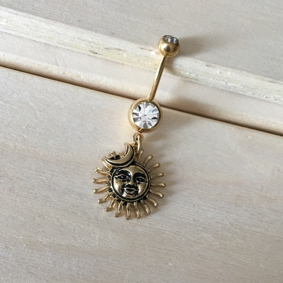 Gold Sun Moon Belly Button Ring