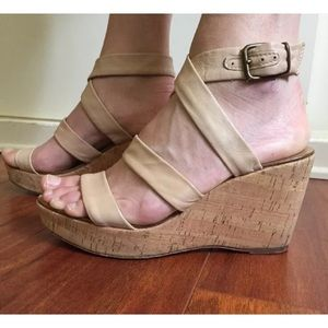 J. Crew Leather Strappy Wedge Cork Sandals Sz 9