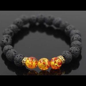 Gold Specks Charcoal Lava Bead Bracelet For Men