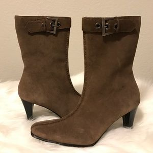 Mossimo Shoes - MOSSIMO Taupe Suede Mid Calf Boots