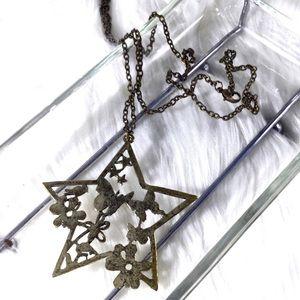 BOHO Antique Brass Nature Star Statement Necklace