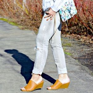 Leather Mule Wedge
