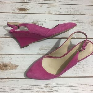 Franco Sarto Shoes - Franco Sarto Pink Suede Pointy Toe Wedge Slingback