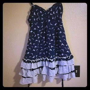 Flowy bird print dress