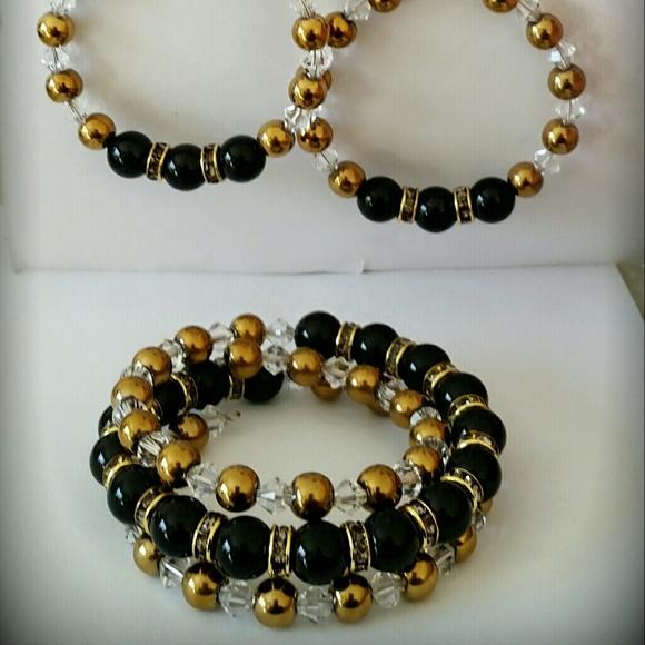 6f8de3760aa52 Gold Hematite & Black Swarovski Pearl 3 Piece Set