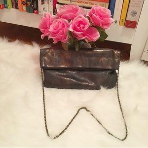 ADA Handbags - Ada Black & Bronze Leather Clutch w Chain Strap