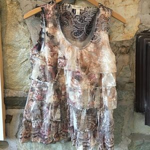 Dress Barn Tops - lace, floral, ruffled romantic patterned tank- xl