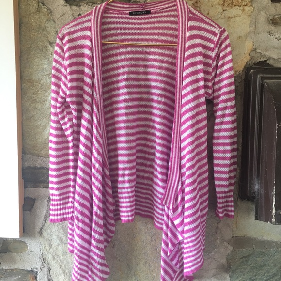 Papermoon pink & white striped open cardigan. Sz M