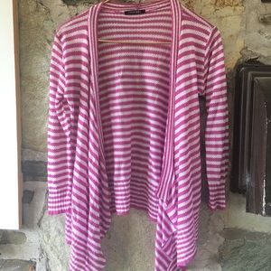 papermoon Sweaters - Papermoon pink & white striped open cardigan. Sz M