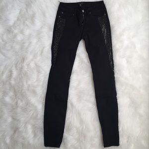 Bebe crystal Embellished Black Jeans 26