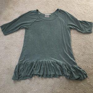 Dantelle Tops - Vintage Green Ruffle 3/4 Sleeve Shirt