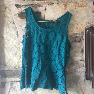 Charlotte Russe Tops - Charlotte Russe teal lace peplum tank. Sz L