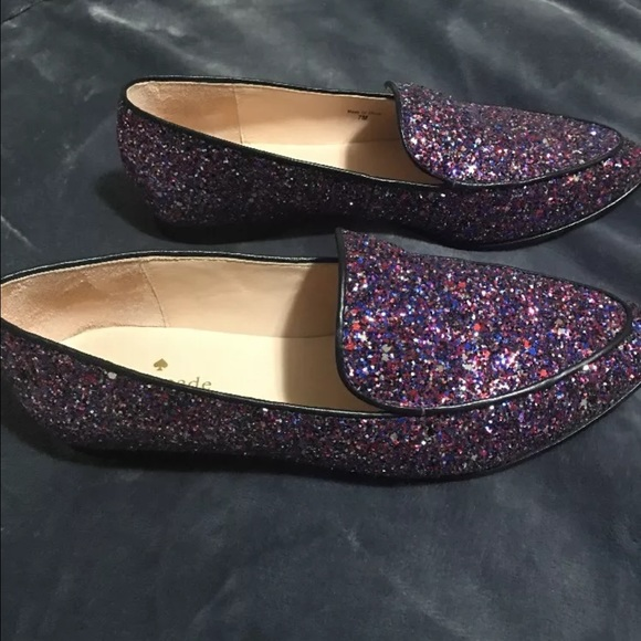 kate spade Shoes - Kate Spade glitter loafers like new!