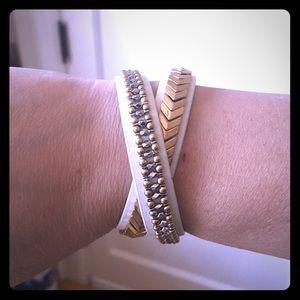 Stella & Dot white leather double wrap bracelet