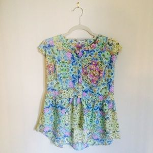 Lily White Tops - Lily White Floral Blouse with Peplum Detail