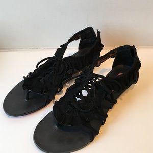 Betsey Johnson black suede sandals