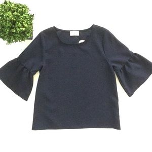 Everly Tops - Boutique EVERLY Navy Bell Sleeve Top