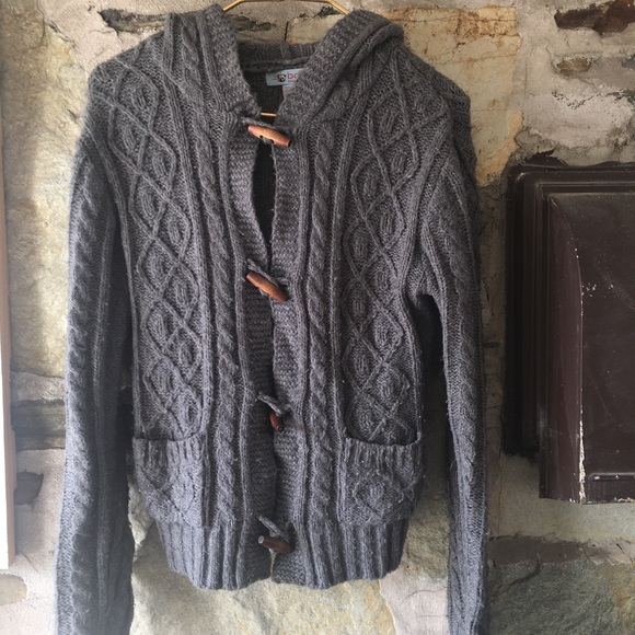 UO bdg gray cable knit hooded cardi wood buttons