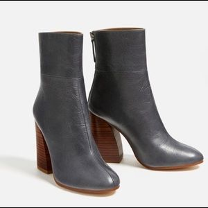 Zara grey ankle boots with wooden heel