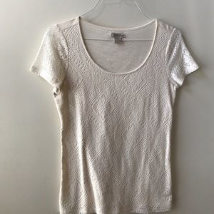 Lucky Brand lace front scoop neck tee