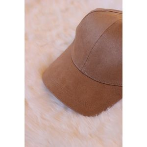 likeNarly Accessories - Tan Faux Suede Baseball Cap