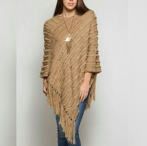 Knit Poncho with Fringe Detail