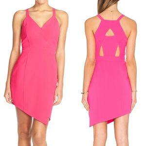 Greylin Dresses & Skirts - Greylin Hot Pink Dress Asymmetrical Hem & Cutouts