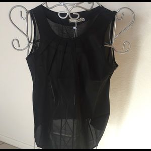 liva girl  Tops - 💔NWT black sheer pleated baby doll tank💔