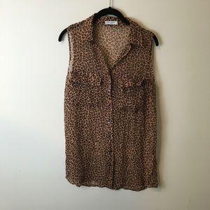 Equipment Tops - Equipment Leopard Print Silk Sleeveless Blouse Top