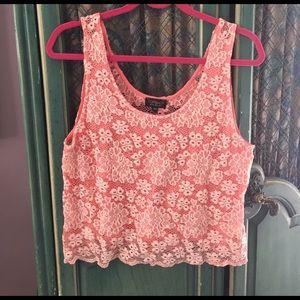 TopShop Pink Lace Crop Top