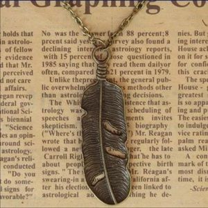 Jewelry - Bronze Feather Sweater  Necklace