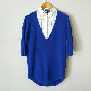 {Express} Blue Deep V-Neck Loose-Fit Sweater