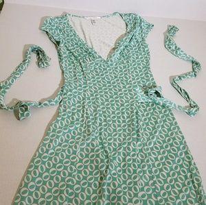 Mint green DVF silk wrap dress