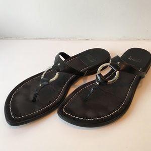 Stuart Weizmann black calf thong sandals