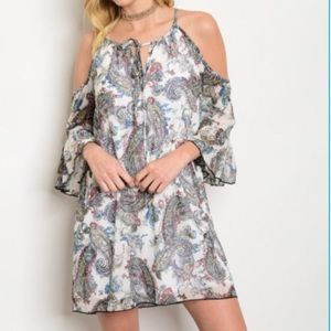 Cold shoulder boho dress