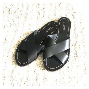 J. Crew Shoes - J Crew Leather Criss Cross Mule Sandals