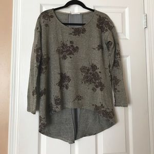 Lush Floral Hi Low Sweater with Gold Stitching