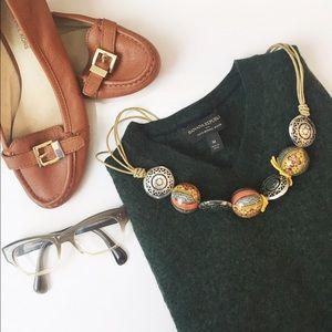 Banana Republic Sweaters - BR Hunter Green Merino Wool V neck