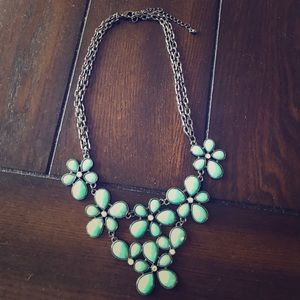 Teal Flower Statement Necklace.