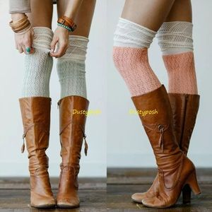 HUE Accessories - Crochet Over The Knee Socks Peach Blue Thigh High