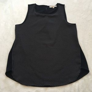 LOFT Black and White Sleeveless Blouse